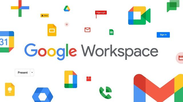 Illustration showing the logos of all Google products included in Google Workspace